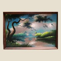 """Lemuel (""""Lem"""") Newton (American 1950 – 2014) - ORIGINAL FLORIDA HIGHWAYMEN  - Outstanding Huge Signed And Authenticated Oil Painting."""