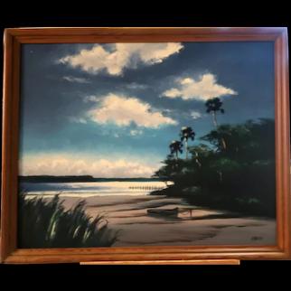 "Hall of Fame Original Florida Highwaymen Livingston ""Castro"" Roberts (American 1942-2004) - Large Signed Original Oil On Canvas -"