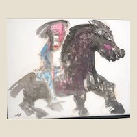 "BERNARD LORJOU (French 1908 - 1986) Original Signed Mixed Media ""Horse and Rider"""