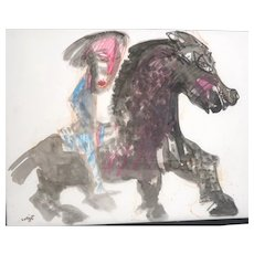 "BERNARD LORJOU (French 1908 - 1986) Original Signed Mixed Media ""Horse and Rider"""