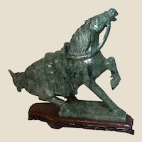Very Large And Impressive Carved Well-Detailed Horse From One Solid Piece of  Jade Aggregate Mixture Stone