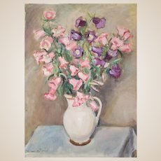 "JADWIGA BUHAREWICZ-HEWELKE (Polish 1892 - 1966) - Original  Signed Tempera (Opaque Watercolor) On Paper ""Pink Flowers In Pitcher"""