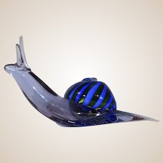 Murano Art Glass Sculpture (or Large Paperweight) -Signed/Dated  Art Glass Snail, Beautiful with a Translucent Violet Body; A Swirled Shell in Green and Blue!