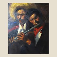 """""""Mariachi Music"""" - Original Signed Oil On Canvas By """"The Art Of California Artist Don Shreves  (American 1918-1993)"""