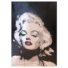 "HUGE Pop Art ""Marilyn"" One Of A Kind  Oil Painting On Canvas Embellished With Glitter .  FIVE FEET BY FOUR FEET!"