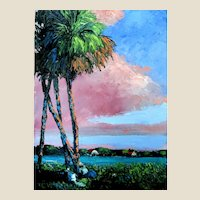 """""""Sunset Sky"""" - Pallette Knife Original Oil Painting by Noted Artist, Mark Stanford"""
