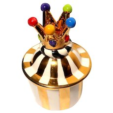 MARY ROSE YOUNG (England) -Signed Hand-Made Crown Trinket Box or Dresser Box or Jewelry Box - Bright and Colorful!