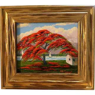 """The ONLY FEMALE HIGHWAYMAN Hall of Fame Artist Mary Ann Carroll (American 1940 - 2019) - Signed Original Oil On Canvas -""""Poinciana"""" - With Ms.Carroll's Original Hand-Written Bill of Sale."""