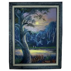 """The ONLY FEMALE HIGHWAYMAN Mary Ann Carroll (American 1940 - 2019) - Signed Original Oil On Canvas - """"Moonlight On The River"""""""