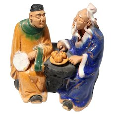 VERY RARE Chinese Mudman Seated PAIR With Scholar (Holding Fan) and Sage ((With peaches On A Plate)