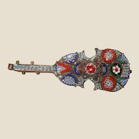Antique Italian Micro Mosaic Guitar Pin or Brooch, circa 1900