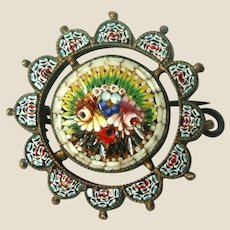 Antique Micromosaic Small  Pin or Brooch, By Fabbrica Angelo Pessar Micro Mosaic,  Exquisite Floral Circa 1870.