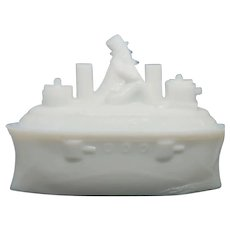 UNUSUAL Abe Lincoln Milk Glass Covered Dish. Mid Century