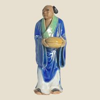 UNUSUAL Chinese Standing Mudman Holding An Unidentified Object - Perhaps a Drum or Bell