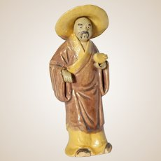 Uncommon and Unusual Chinese Mudman Standing Figure With Hat Holding a Peach (Giving Longevity)