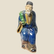 """Antique Uncommon Chinese Mudman Royal """"Immortal Hermit"""" Tsao Kuo Ch'iu, Favored Symbol For Older Men, With His Emblem Castanets"""