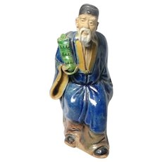 "Antique Uncommon Chinese Mudman Royal ""Immortal Hermit"" Tsao Kuo Ch'iu, Favored Symbol For Older Men, With His Emblem Castanets"