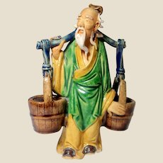 "Chinese Mudman Larger Yoke Bearer With ""Wood"" Barrels for Toothpicks, Spices, Incense, or Brushwashers"