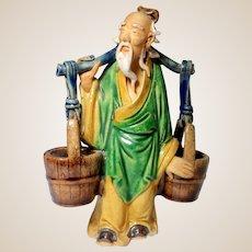 "Chinese Mudman Larger Yoke Bearer With ""Wood"" Barrels for Toothpicks, Spices, Incense, or Brushwashers"