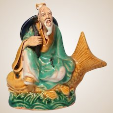 VERY RARE Chinese Antique Mudmen Lao Tzu (Founder of Taoism) Riding On A Yellow Fish (Carp)