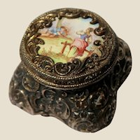 Antique Enamel, Continental Silver Pill Box or Trinket Box, Marked 900, Circa 1900