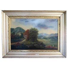 "American School -Antique Framed Landscape - ""Cottage In The Woods"" - Original Oil On Canvas"