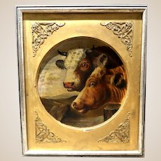 19th Century Original Oil Painting - Portrait of Two Cows