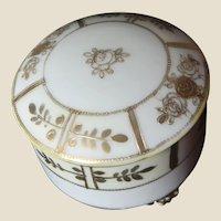Charming Nippon Round Porcelain Powder Box or Trinket Box or Dresser Box or Jewelry Box