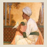 """Legends of the Alhambra"" Antique Original Oil Signed Interior Illustration, by George W. Hood (American, 1869-1949)"
