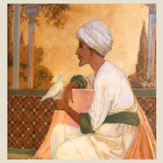 """""""Legends of the Alhambra"""" Antique Original Oil Signed Interior Illustration, by George W. Hood (American, 1869-1949)"""