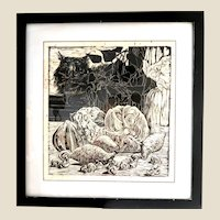 "One Of A Kind  ""Reverie""-  Original Signed Black And White Woodblock, Signed and Numbered 1/1, Still Life -"