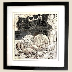 """One Of A Kind  """"Reverie""""-  Original Signed Black And White Woodblock, Signed and Numbered 1/1, Still Life -"""