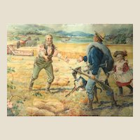 """Back From The War"" -Rare 19th Century Chromolithograph Advertising Poster for McCormick Harvesting Machine"