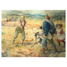 """""""Back From The War"""" -Rare 19th Century Chromolithograph Advertising Poster for McCormick Harvesting Machine"""