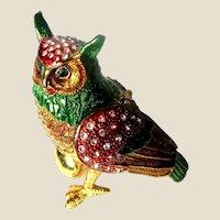 """Jeweled"" Owl With Egg Trinket Box or Dresser Box"