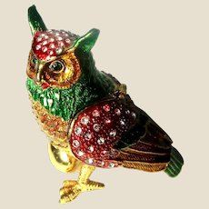 """Jeweled"" Owl With Egg Trinket Box or Dresser Box"