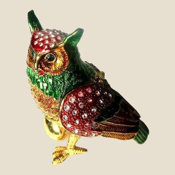 """Jeweled"" Owl Trinket Box"