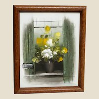 "Charming Original Signed Oil Floral Painting - ""Flowers In The Window"""