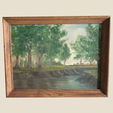 Original Signed/Dated Oil on Canvas Panel Of A Stream By LeRoy Snow, Jr.,(American  1932-2017)  Framed.  Ready to Hang.  Dated 1944..