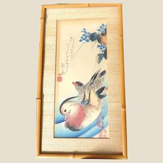 Ando Hiroshige Mandarin Ducks - Ukiyo-E Woodblock