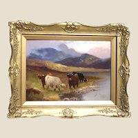 """CHARLES W. OSWALD (British 1892-1900) - Signed Original Oil On Canvas, """"Cattle of The Highlands"""""""