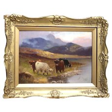 "CHARLES W. OSWALD (British 1892-1900) - Signed Original Oil On Canvas, ""Cattle of The Highlands"""