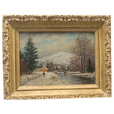 "WILLIAM FREDERICK PASKELL (British/American 1866 - 1951) - Authentic Signed 19th Century ""White Mountain Painting""  -""Winter On Chocorua Mountain"""
