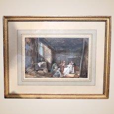 "18th Century Original Gouache by PHILIBERT-LOUIS DEBUCOURT (French, 1755 - 1832) ""La Visite A La Sorciere"" - One Of A Kind Original"