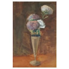 Antique Original Watercolor Painting of Wildflowers Bouquet