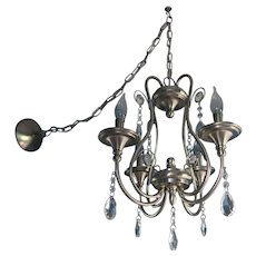 Elegant Vintage Four-Arm Chandelier With Crystal Tear Drop Pendants