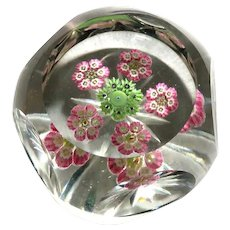 Beautiful Multi Faceted Art Glass Millefiori Paperweight
