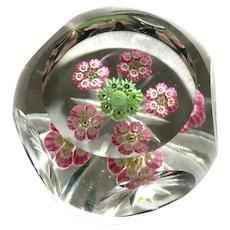 Beautiful Multi Faceted Art Glass Millefiori Paperweight