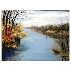 "Original American School Signed Oil Painting ""Autumn On The River""   - Artist M. Atkins. 20th Century"