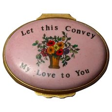 "HALCYON DAYS ""Let This Convey My Love To You""  Enamel Heart Trinket Box, From England"